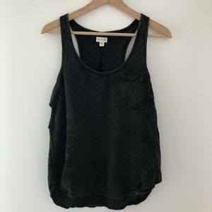 Silence + Noise distressed black tank top